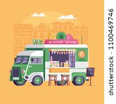 city street food vegan van in... | Shutterstock .eps vector #1100469746