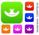 cowboy hat set icon color in... | Shutterstock . vector #1100478116