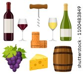 wine set vector design elements ... | Shutterstock .eps vector #1100483849