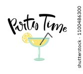 cocktail glass with hand drawn... | Shutterstock .eps vector #1100486300