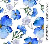 blue flax. floral botanical... | Shutterstock . vector #1100489720