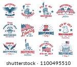 Set Of 4th July Vintage Emblem...