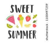 sweet summer vector lettering... | Shutterstock .eps vector #1100497259