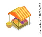 street vendor booth with fruits ... | Shutterstock .eps vector #1100506250