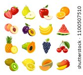 set of colorful cartoon fruit... | Shutterstock . vector #1100507510