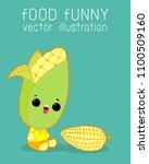 corn funny cartoon poster...   Shutterstock .eps vector #1100509160