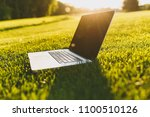 Close up laptop pc computer with blank black empty screen to copy space in park on vibrant spring green fresh grass, sunshine lawn meadow outdoors on nature. Mobile Office. Freelance business concept