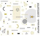 memphis seamless pattern... | Shutterstock .eps vector #1100518709