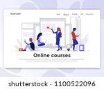 landing page template of online ... | Shutterstock .eps vector #1100522096