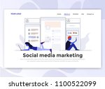 landing page template of social ... | Shutterstock .eps vector #1100522099