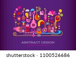 colorful on a dark violet... | Shutterstock .eps vector #1100526686