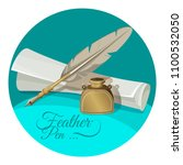 feather pen and inkwell near... | Shutterstock .eps vector #1100532050