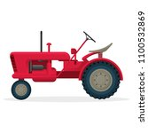 red agricultural tractor on...   Shutterstock .eps vector #1100532869