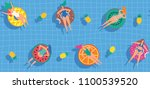 young women swimming in the... | Shutterstock .eps vector #1100539520