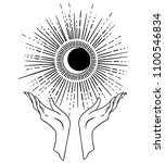 beautiful hand drawing hand is... | Shutterstock .eps vector #1100546834