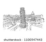 leaning tower of pisa  italy.... | Shutterstock .eps vector #1100547443
