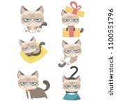 Stock vector funny vector set of grumpy cat 1100551796