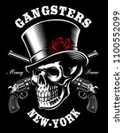 skull with hat and guns on dark ... | Shutterstock .eps vector #1100552099