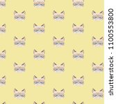 vector grumpy cat pattern. | Shutterstock .eps vector #1100553800
