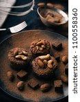 chocolate brownie cake  dessert ... | Shutterstock . vector #1100558360