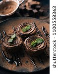 chocolate brownie cake  dessert ... | Shutterstock . vector #1100558363