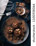 chocolate brownie cake  dessert ... | Shutterstock . vector #1100558366
