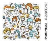 people eat different foods. | Shutterstock .eps vector #1100561648