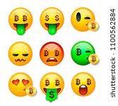 bitcoin smiley emoji  emoticon... | Shutterstock .eps vector #1100562884