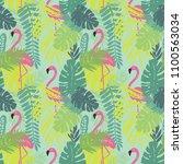 tropical leaves summer print.... | Shutterstock .eps vector #1100563034
