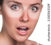 young surprised woman with... | Shutterstock . vector #1100563109