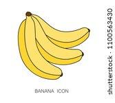 ripe banana icon isolated  on... | Shutterstock .eps vector #1100563430