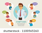 doctor and set of symptoms with ... | Shutterstock .eps vector #1100565263