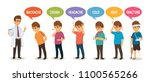 doctor and set of symptoms with ... | Shutterstock .eps vector #1100565266