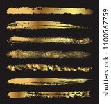 golden grunge paint stripes... | Shutterstock .eps vector #1100567759