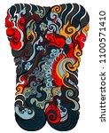 line thai tattoo design... | Shutterstock .eps vector #1100571410