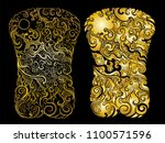 gold color line thai tattoo... | Shutterstock .eps vector #1100571596
