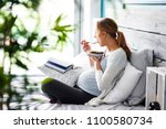 side view of pregnant woman...   Shutterstock . vector #1100580734