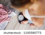 unrecognizable pregnant woman... | Shutterstock . vector #1100580773