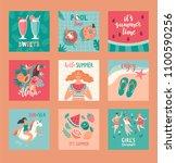 hello summer cards. set of... | Shutterstock .eps vector #1100590256