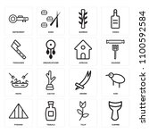 set of 16 icons such as djembe  ...