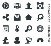 black vector icon set ripple... | Shutterstock .eps vector #1100595023