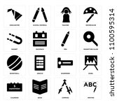 set of 16 icons such as writing ...