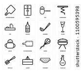 set of 16 icons such as olive...
