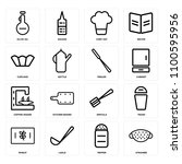 set of 16 icons such as... | Shutterstock .eps vector #1100595956