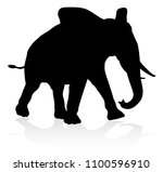 Stock vector an elephant safari animal silhouette 1100596910