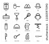 set of 16 icons such as paella  ...