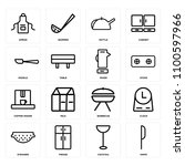 set of 16 icons such as knife ... | Shutterstock .eps vector #1100597966