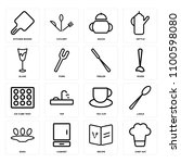 set of 16 icons such as chef... | Shutterstock .eps vector #1100598080