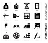 set of 16 icons such as pencil  ...