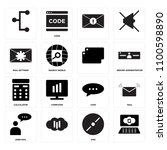 set of 16 icons such as  disc ...